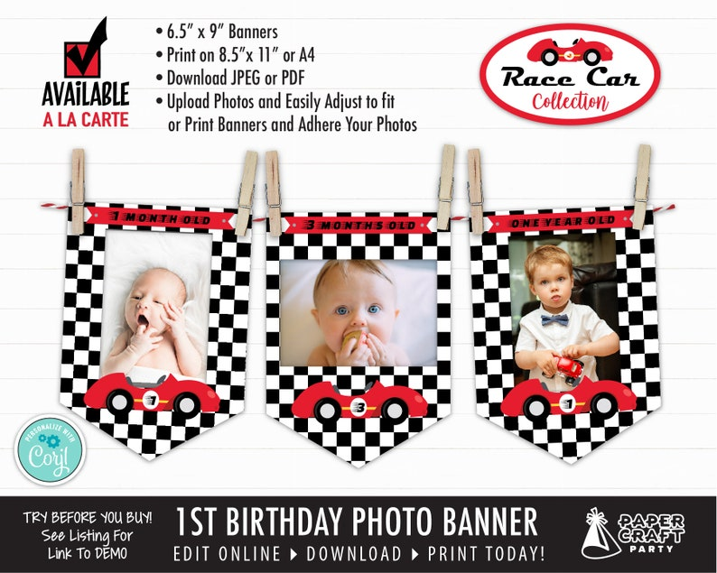 Race Car Monthly Photo Banner for 1st Birthday Edit Online  image 0