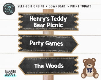 Teddy Bear Printable Directional Signs, Chalkboard Signs, Arrow Signs, Edit Online + Download Today With Free Corjl.com 0083F