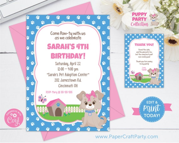 Pink Puppy Invitation Printable Doggy Invite Dog Party Adoption Instant Download And Edit Online With Free Corjl