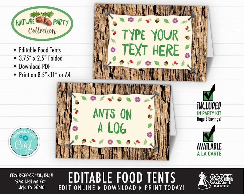 Scavenger Hunt Nature Party Printable Food Tents Place Cards image 0