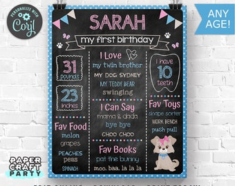 Puppy Printable Chalkboard Sign, Milestone Poster, 1st 2nd 3rd Birthday, Pink Puppy Party, Edit Online + Download Today With Free Corjl.com