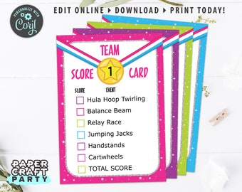 Gymnastics Party Printable Score Cards, Meet Cards, Edit Online + Download Today With Free Corjl.com 0021