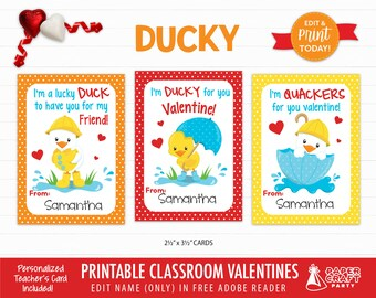 Ducky Valentine Cards | Personalized Printable Classroom Valentines | Classroom Exchange Cards | Edit in Free Adobe Reader