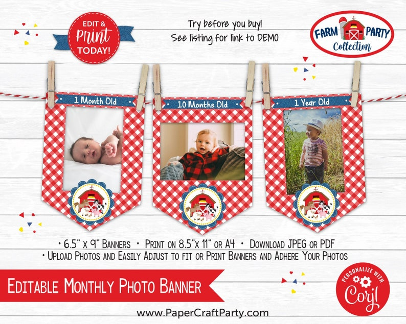 Farm Monthly Photo Banner for 1st Birthday in Red Edit Online image 0