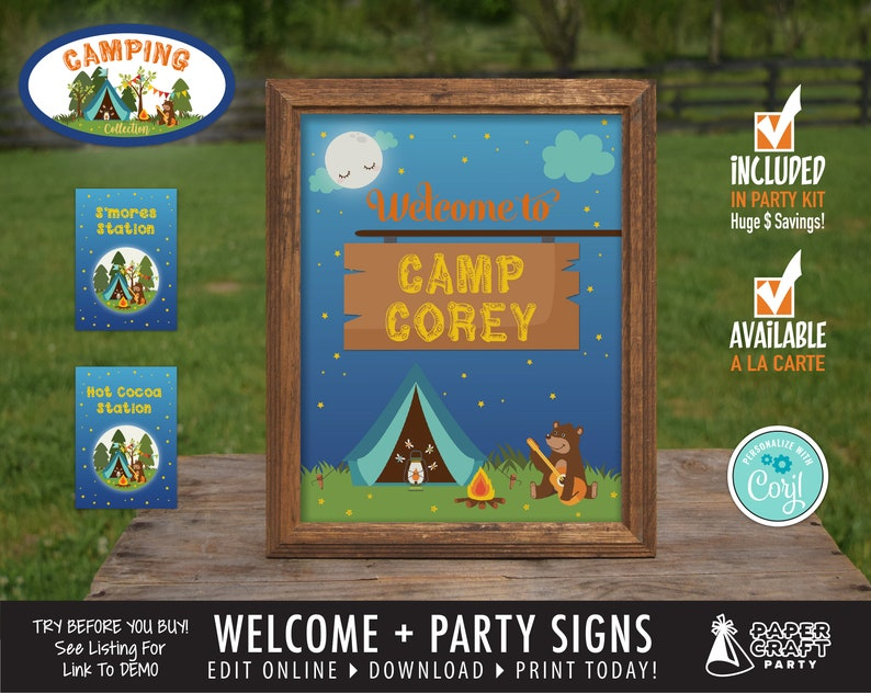 Camping Party Printable Welcome Sign & Party Signs image 0