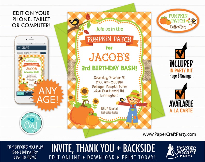 Pumpkin Patch Printable Invitation and Thank You Note image 0