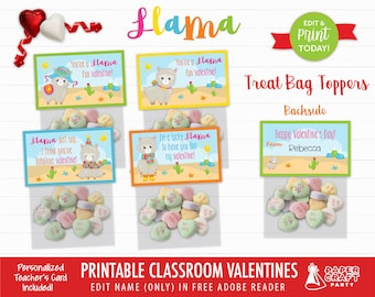 Llama Valentine Treat Bag Toppers   Personalized Printable Classroom Valentines   Classroom Exchange   Edit in Free Adobe Reader