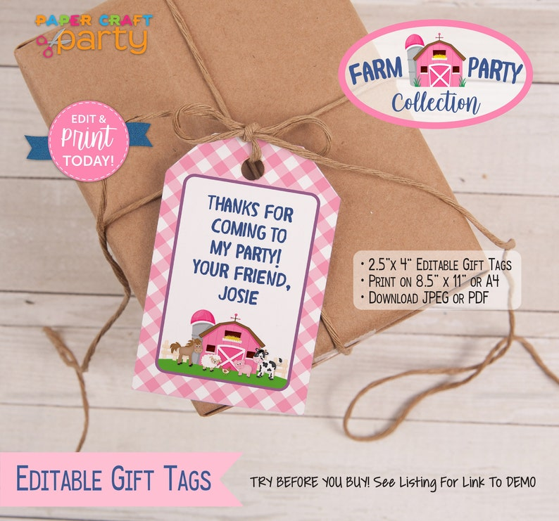 Printable Farm Gift tags in pink. Edit & print today Edit image 0