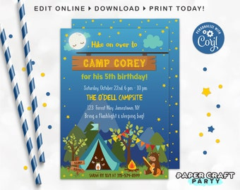 Camping Printable Invite, Backside & Thank you Note, Nature Woodland S'Mores Party, Edit Online + Download Today With Free Corjl.com 0018
