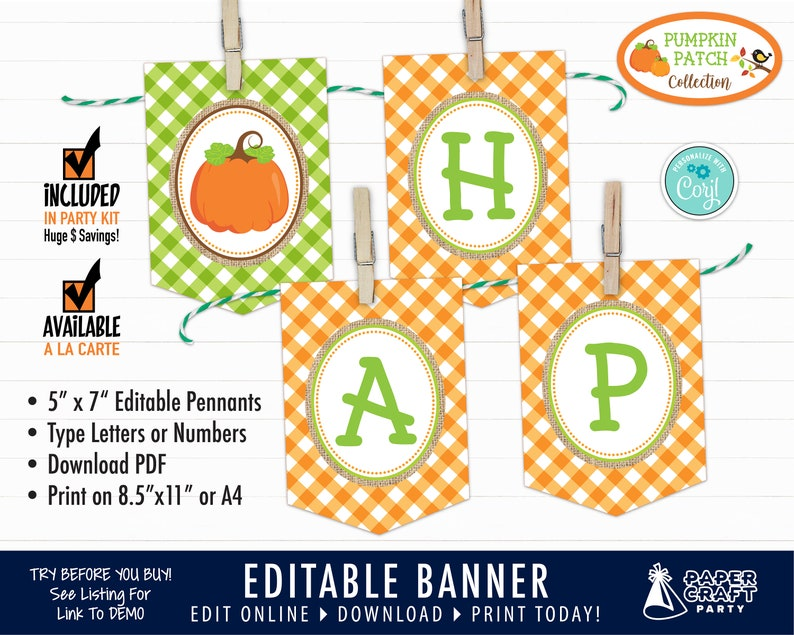 Pumpkin Patch Party Printable Birthday Banner Edit Online  image 0