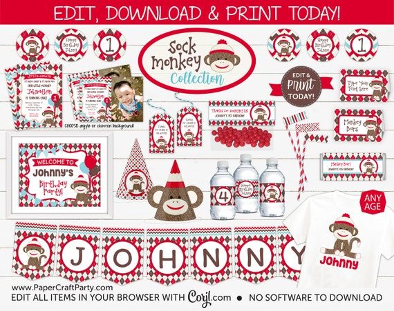 Printable Party Pack Sock Monkey Birthday Party Custom Party Monkey Birthday