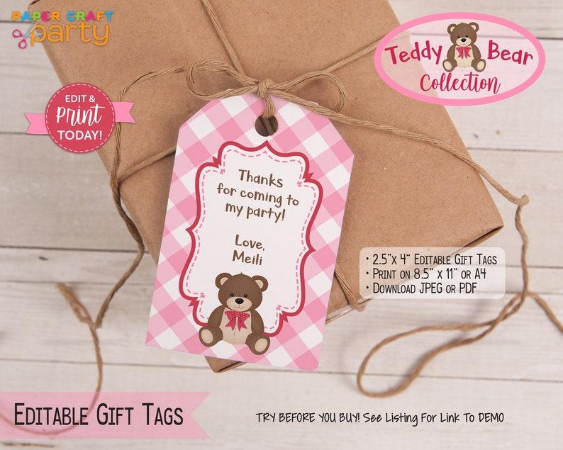 Teddy Bear Printable Birthday Drink Labels Printable Water image 0