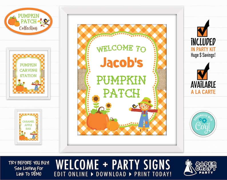 Pumpkin Patch Party Printable Welcome Sign & Party Signs image 0