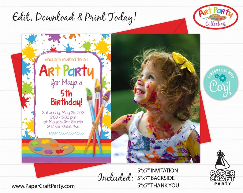 Art Paint Party Printable PHOTO Invite Backside & Thank you image 0
