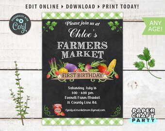 Farmers Market Printable Invitation, Thank You & Backside Included, Chalkboard Green, Edit Online + Download Today With Free Corjl.com 0015