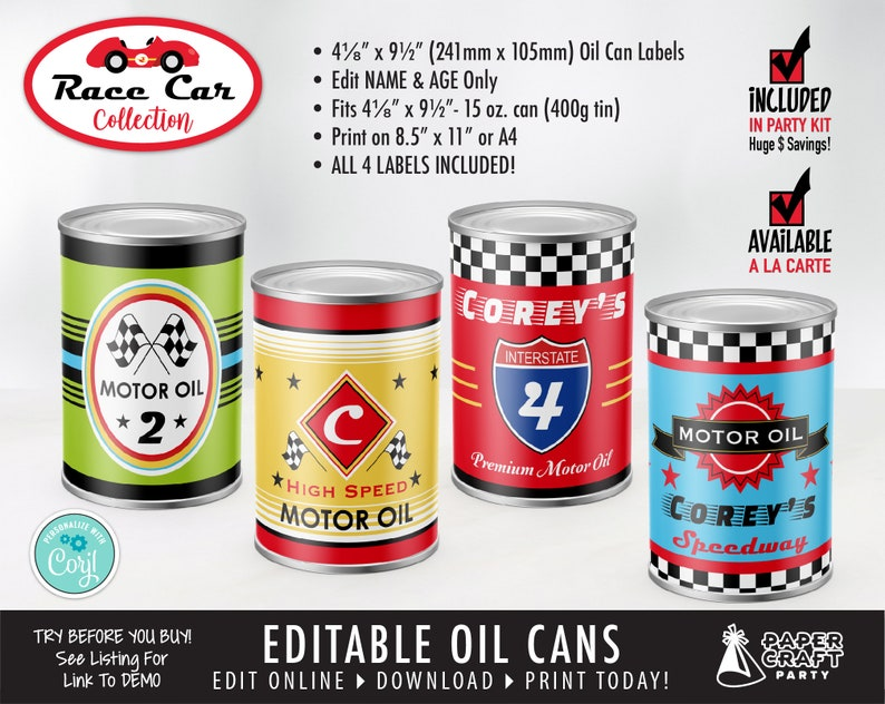 Race Car Printable Motor Oil Can Labels Edit Online  image 0