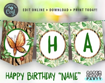 Nature Party Printable Birthday Banner, Bug Scavenger Party, Edit Online + Download Today With Free Corjl.com 0041