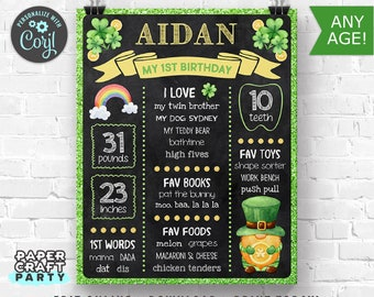 St. Patrick's Day Printable Chalkboard Sign, Milestone Poster, 1st 2nd 3rd Birthday, Edit Online + Download Today With Free Corjl.com 0033