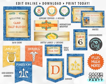 Printable Demigod Invite & Decorations, Demigod Party Kit, Demigod Decor, Greek God, Edit Online + Download Today With Free Corjl.com 0024