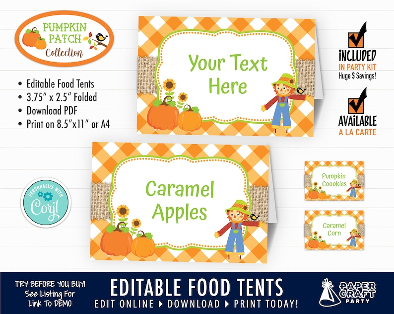 Pumpkin Patch Party Printable Food Tents Place Cards Edit image 0