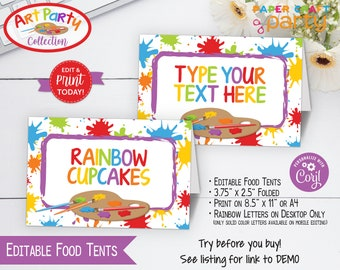 Art Party Printable Food Tents, Place Cards, Edit Online + Download Today With Free Corjl.com APR