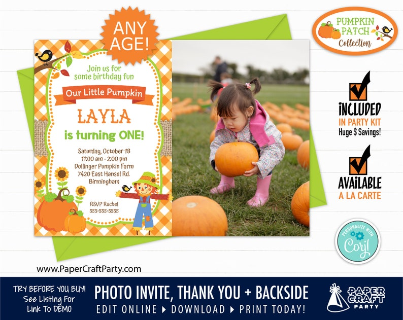 Pumpkin Patch Printable PHOTO Invitation and Thank You Note image 0