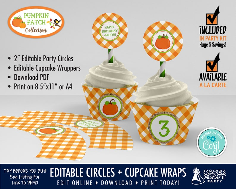Pumpkin Patch Party Printable Circles & Cupcake Wrappers Gift image 0