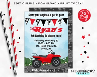 ATV Printable Invitation, Quad 4-Wheeler, Thank You Note & Backside Included, Edit Online + Download Today With Free Corjl.com 0012C