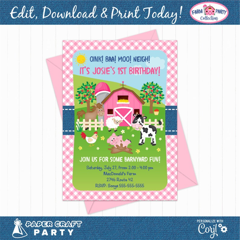 Farm Party Printable Invitation and Thank You Note in PINK image 0