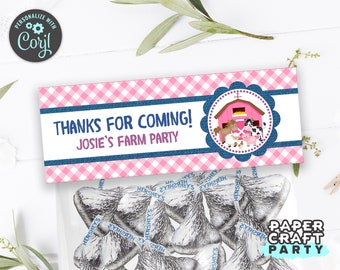 Farm Printable Treat Bag Topper, Goodie Bag, Pink, Edit Online + Download Today With Free Corjl.com  0047