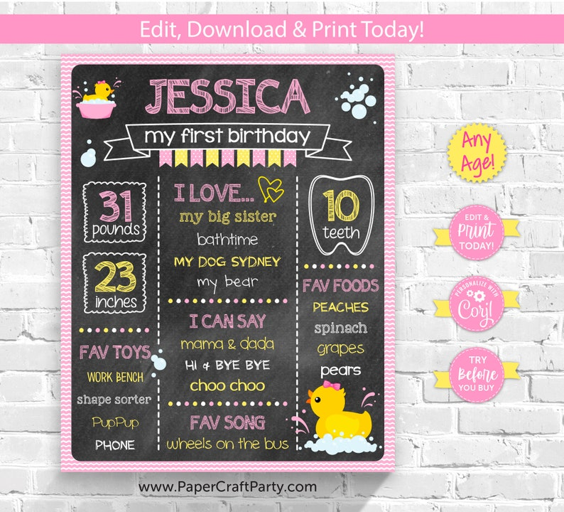 Rubber Ducky Printable Chalkboard Milestone Poster in Pink for image 0
