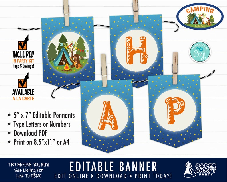 Camping Party Printable Birthday Banner Edit Online  image 0