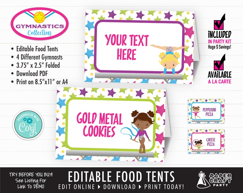 Gymnastics Party Printable Food Tents Place Cards Edit image 0