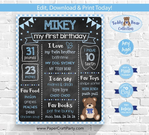 Teddy Bear Milestone Chalkboard Poster for Any Age, Printable Sign