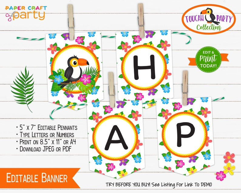 Toucan Printable Birthday Banner Edit Online Download Today Etsy