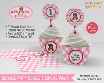 Teddy Bear Printable Party Circles & Cupcake Wrappers, Gift Tags, Edit Online + Download Today With Free Corjl.com TB12