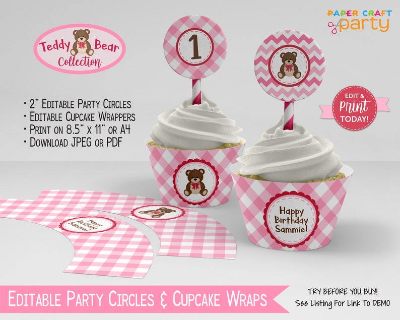 Teddy Bear Printable Party Circles & Cupcake Wrappers Gift image 0