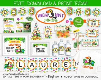 Toucan Party Printable Party Kit Includes Invites and Decorations, Edit Online + Download Today With Free Corjl.com