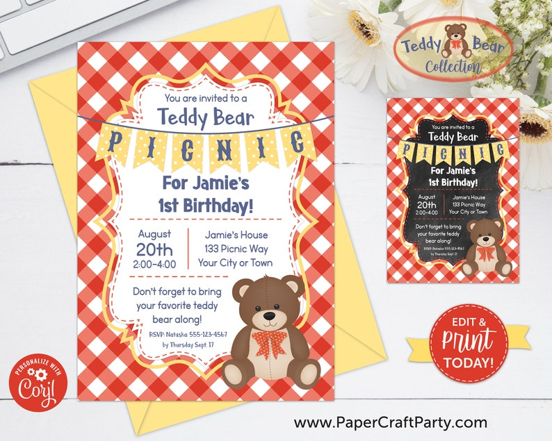 Teddy Bear Picnic Printable Invite & Thank You Note Red  image 0