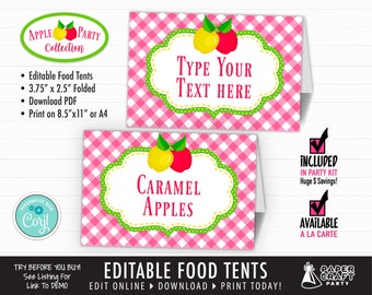 Apple Party Printable Food Tents, Place Cards, Edit Online + Download Today With Free Corjl.com AOP