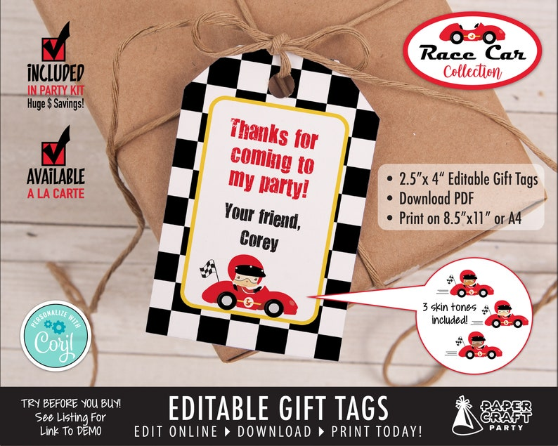 Race Car Printable Gift Tags Edit Online  Download Today image 0