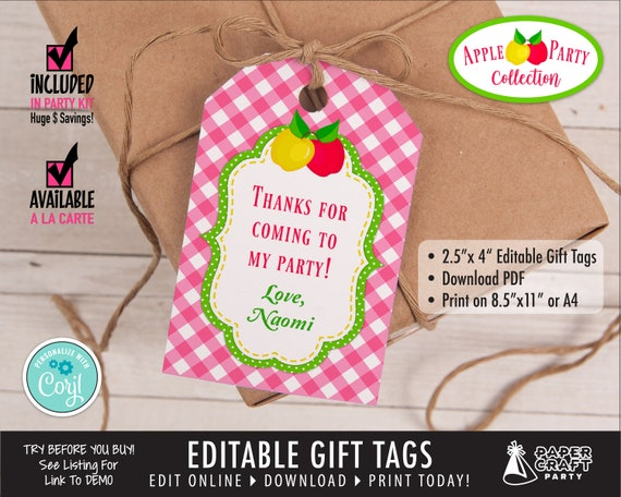Apple Party Printable Birthday Gift Tags Hanging Tags Edit Etsy