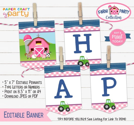 photograph about Free Printable Birthday Banner called Farm Printable Birthday Banner, Edit On the net + Down load Nowadays