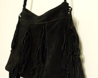 8caf83dcdf70 Genuine suede bag.Small Black Suede leather purse with fringe.cross body bag.shoulders  bag