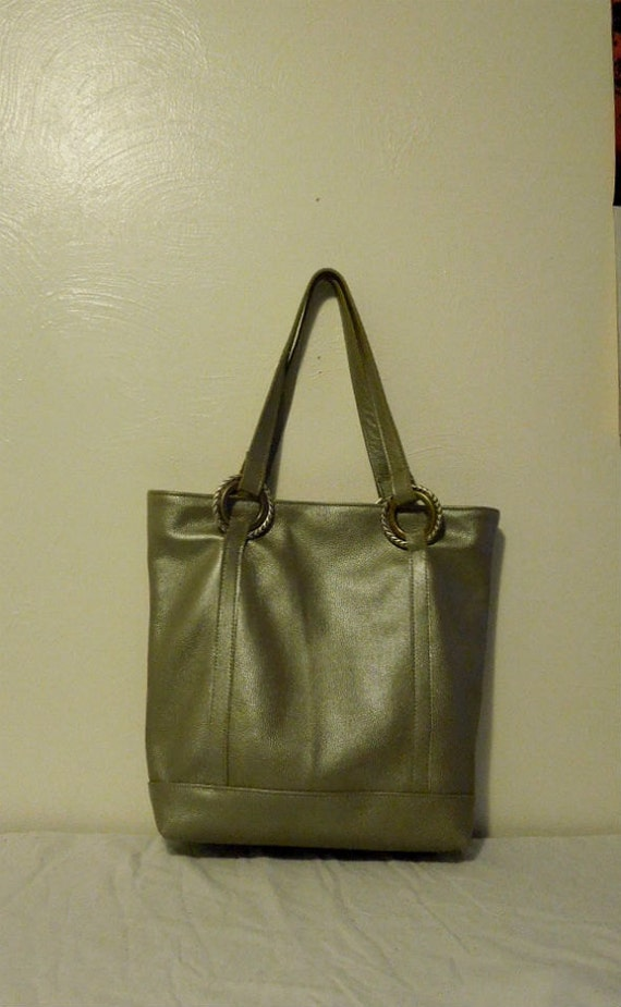 fb9b856250b9c Light Green silver Leather tote . shoulder bag .women.