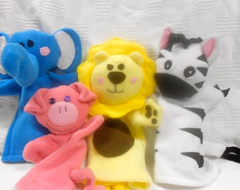 Handmade Fleece Hand Puppets Made to Order and Various Animals Available