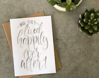 Greeting Card - Happily Every After - 5x7 Grey Watercolor
