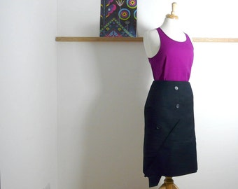 Size L - Jacket Pencil Skirt in Navy - Upcycled