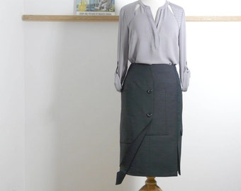 Size M - Jacket Pencil Skirt in Grey and Navy pinstripe - Upcycled