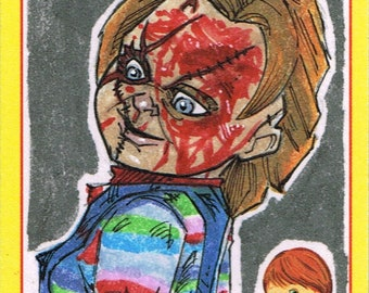Official Fright-Rags Chucky Art Sketch Card Artist Pick | Etsy